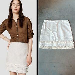 LOFT Ivory Tasseled Shirt Skirt size 6